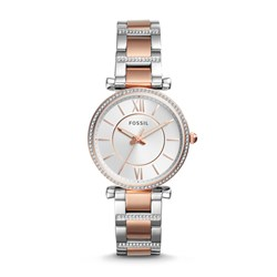 Fossil Women's Carlie Three-Hand Two-Tone Stainless Steel Watch (Model: ES4342)