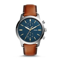 Fossil Men's FS5279 Townsman 44mm Chronograph Luggage Leather Watch