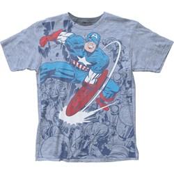 Captian America - Mens Fighting Big Print T-Shirt