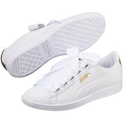 puma white ribbon shoes