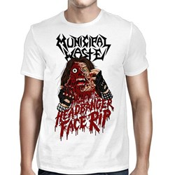 Municipal Waste - Mens Headbanger Face Rip White T-Shirt