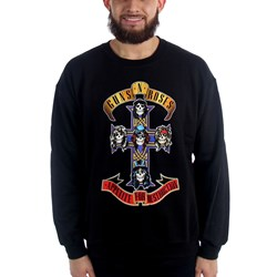Guns N Roses - Mens Cross Black Crewneck Sweatshirt