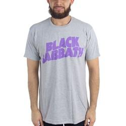 Black Sabbath - Mens Purple Logo Grey T-Shirt