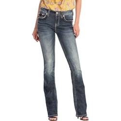 Miss Me - Womens M5014B284 Mixed Stitch Mid-Rise Boot Cut Jeans