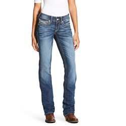Ariat - Womens Real Mid Rise Straight Cascade Denim Jeans
