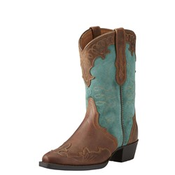 Ariat - Youth Zealous Distrsd Brn/Teal Sde Shoes