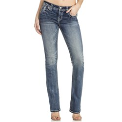 Miss Me - Womens M3227B Metallic Wing Mid-Rise Boot Cut Jeans