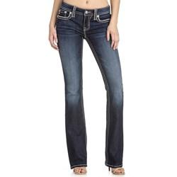 Miss Me - Womens M5014B291 Mixed Border Pocket Mid-Rise Boot Cut Jeans