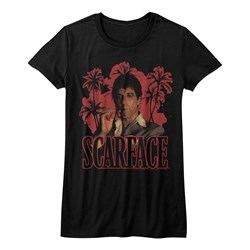 Scarface - Juniors Red Palms T-Shirt