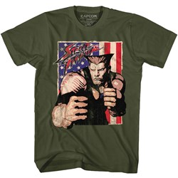 Street Fighter - Mens Guile With Flag T-Shirt