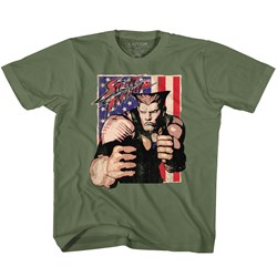 Street Fighter - unisex-baby Guile With Flag T-Shirt