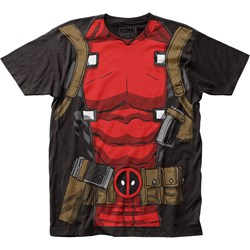 Deadpool Mens Muscle Suit Big Print Subway T-Shirt