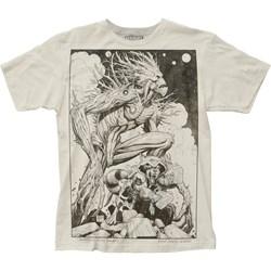 Guardians Of The Galaxy Mens Groot & Rocket Sketch Big Print Subway T-Shirt