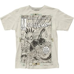 Spider-Man Mens Cover Sketch Big Print Subway T-Shirt