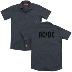 Acdc - Mens Worn Logo (Back Print) Work Shirt