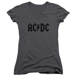 Acdc - Juniors Worn Logo V-Neck T-Shirt
