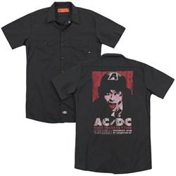 Acdc - Mens High Voltage Live 1975 (Back Print) Work Shirt