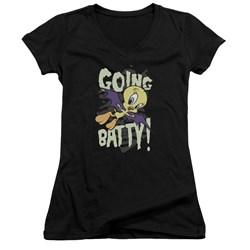 Looney Tunes - Juniors Going Batty V-Neck T-Shirt