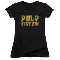 Pulp Fiction - Juniors Pulp Logo V-Neck T-Shirt