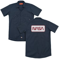 Nasa - Mens Rectangular Logo (Back Print) Work Shirt