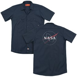 Nasa - Mens Distressed Logo (Back Print) Work Shirt