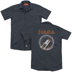 Nasa - Mens Retro Shuttle (Back Print) Work Shirt