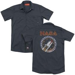 Nasa - Mens Retro Shuttle (Back Print) Work Shirt