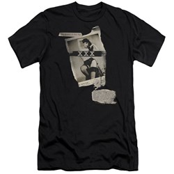 Bettie Page - Mens Newspaper & Lace Premium Slim Fit T-Shirt