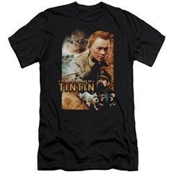 Tintin - Mens Adventure Poster Premium Slim Fit T-Shirt