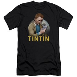 Tintin - Mens Looking For Answers Premium Slim Fit T-Shirt