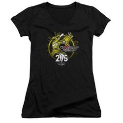 Power Rangers - Juniors Yellow 25 V-Neck T-Shirt