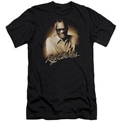 Ray Charles - Mens Sepia Premium Slim Fit T-Shirt