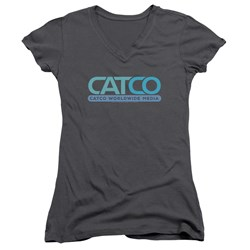 Supergirl - Juniors Catco Logo V-Neck T-Shirt