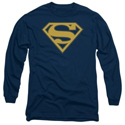 Superman - Mens Maize & Blue Shield Long Sleeve T-Shirt
