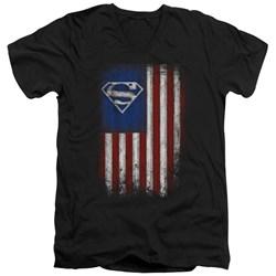 Superman - Mens Old Glory Shield V-Neck T-Shirt