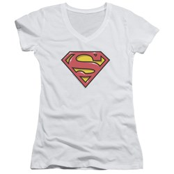 Superman - Juniors Airbrush Shield V-Neck T-Shirt