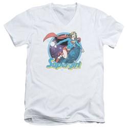 Superman - Mens Supergirl Airbrush V-Neck T-Shirt