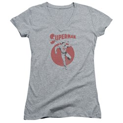 Superman - Juniors Vintage Sphere V-Neck T-Shirt