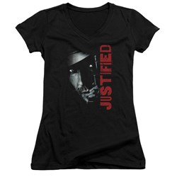 Justified - Juniors Gun V-Neck T-Shirt