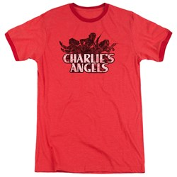 Charlies Angels - Mens Charlies Angels Vintage Logo Ringer T-Shirt