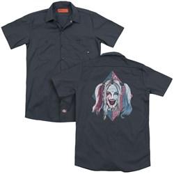 Suicide Squad - Mens Puddin Portrait (Back Print) Work Shirt