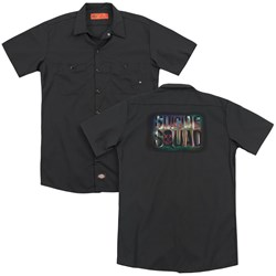 Suicide Squad - Mens Neon Logo (Back Print) Work Shirt