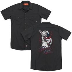 Suicide Squad - Mens Harleys Bat (Back Print) Work Shirt