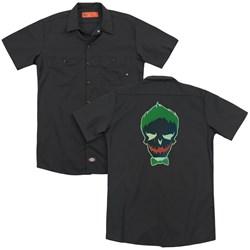 Suicide Squad - Mens Joker Skull (Back Print) Work Shirt