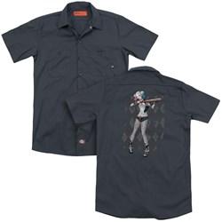 Suicide Squad - Mens Harley Argyle (Back Print) Work Shirt