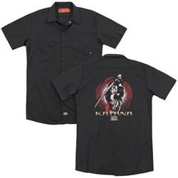 Suicide Squad - Mens Katana Flower (Back Print) Work Shirt