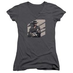 Stevie Ray Vaughan - Juniors Texas Flood V-Neck T-Shirt