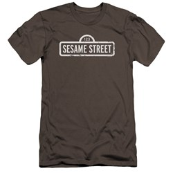 Sesame Street - Mens One Color Logo Premium Slim Fit T-Shirt