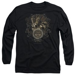 Sun - Mens Scroll Around Rooster Long Sleeve T-Shirt