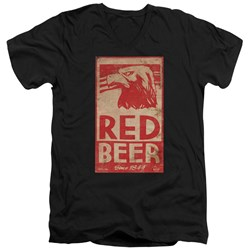 Archer - Mens Red Beer Label V-Neck T-Shirt